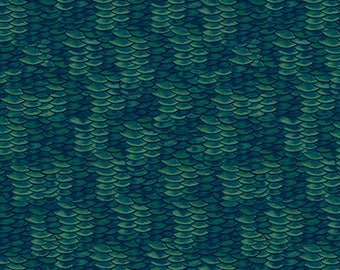 "Fish Scale Fabric: NEW Reel It In Dark Green Fish Scales   100% cotton Fabric By the Yard 36""x43"" (QT12)"