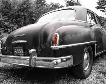 Car Photograph, Vintage Car Photographs, Black and White, Dodge,