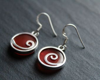 Orange Carnelian Swirl Earrings