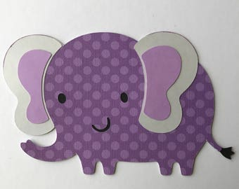 Purple elephant cut outs, elephant die cuts, baby shower elephant themed, elephant card making, elephant cake topper, elephant invitation
