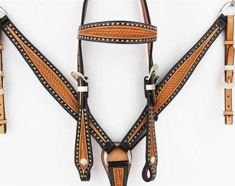 Two Tone Western Buck Stitch Horse Leather Trail Show Bridle Headstall Breast Collar Tack Set