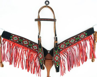 Custom Embroidered Suede Leather Show Headstall Western Horse Trail Barrel Racing Bridle Fringe Breast Collar Plate Tack Set