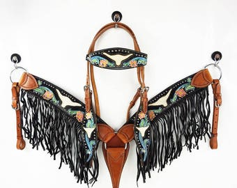 Brahma Bull Headstall Hair Inlay Western Horse Bridle Fringe Breast Collar Plate Show Tack Set