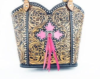 Pink Cross Handmade Classic Floral Tooled 2 Tone Leather Shoulder Hand Bag Western Style Fashion Purse