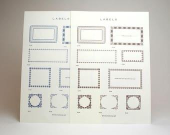 CHARKHA ORIGINAL  letterpress flower flame label set (navy and brawn)