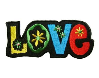 LOVE Embroidered Applique Iron on Patch 11 cm. x 4.5 cm.