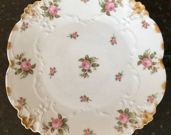 Vintage Limoges Floral Plate - France