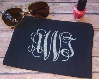 Monogram makeup bag,monogrammed makeup bag,initials makeup bag,name makeup bag,canvas makeup bag,bride makeup bag,bridesmaid makeup bag