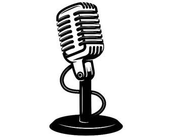 Microphone #4 Audio Sound Recording Record Voice Mic Music Studio Equipment Radio Broadcast Podcast .SVG .EPS .PNG Vector Cricut Cut Cutting