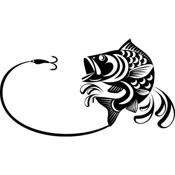 Bass Fishing 3 Logo Angling Fish Hook Fresh Water Hunting