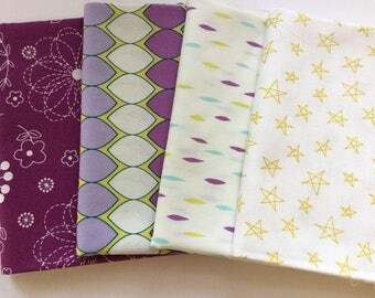 Pretty Purple Plumand Citrine fat quarters, 4 fat quarter set of purple plum and citrine from art gallery fabric and Notepad collection