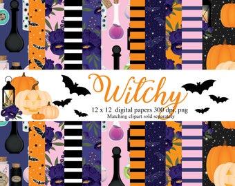 Halloween Digital Papers, Witch, potions, pumpkin, jack o lantern, bats