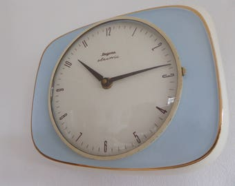 Dugena electric fantastic vintage wall clock kitchen clock horloge ceramic blue goldframe