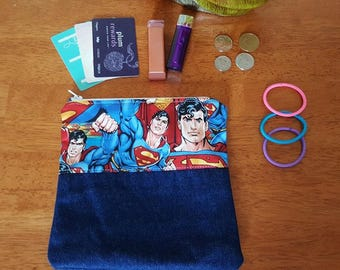 Superman Denim Zipper Bag