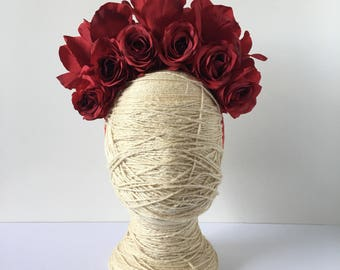 Red rose floral Luxe Headband // Headpiece // Fascinator Statement piece // Spring race fashion