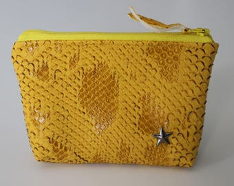 Coin purse / yellow faux leather card holder and Star