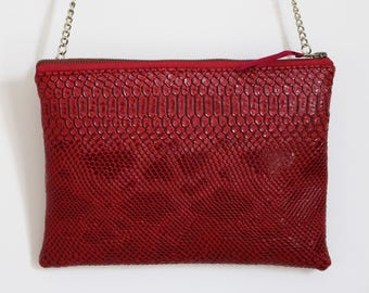 Burgundy Croc leatherette clutch bag