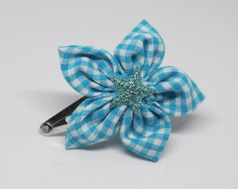 Blue and white gingham flower hair clip