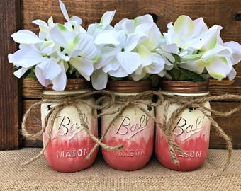 Painted Mason Jar Home Decor. OMBRE. Pink. Coral. Chalk Paint. Vintage. Rustic Vase. Wedding Centerpiece. Shower Gift. Baby Shower.