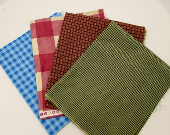 Gingham check cotton fabric, 4 prints of different sizes and colors of gingham print remnants, cotton quilting fabrics,  Christmas crafts