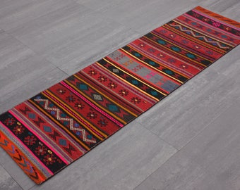 "Runner Patchwork Kilim with Cicim 73cmx253cm= 1,85m2 2'5"" x 8'5"""