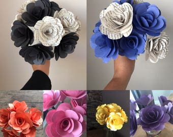 "Solid Color Paper Roses, Half Dozen, 3.5"", Paper Flowers on Stems"