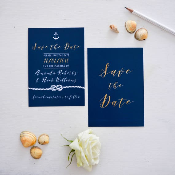 Navy Blue Save the Date cards, Custom Wedding wedding announcement cards, Personalised Printed Save the Date Cards, Navy and Gold A6
