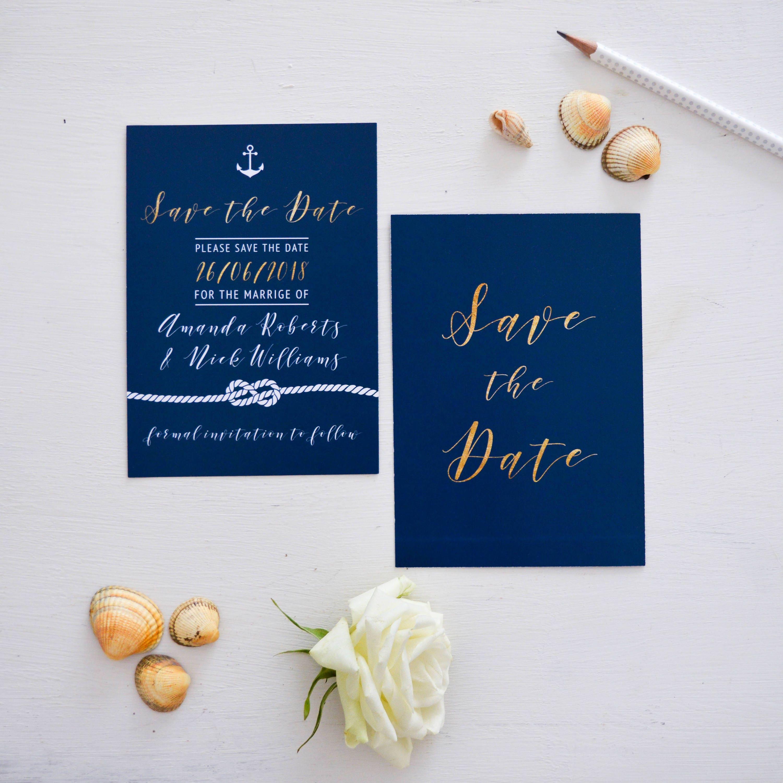 Navy Blue Save the Date cards Custom Wedding wedding announcement
