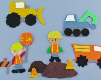 Handmade Felt Board Construction Truck Set, Flannel Board Toy Truck Story, Construction Travel Toy Gift for Children, Pretend Play Felt Toy