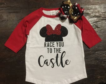 Raglan Shirt Race you to the Castle 2T 3T 4T