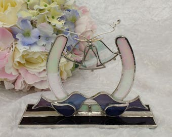 Stained glass Wedding/Anniversary Horse Shoe with Bells, Birds & Hearts. Free Standing or Hanging