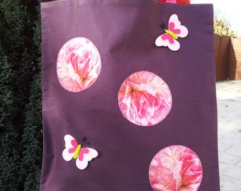 562 application plum cotton tote with roses and butterflies