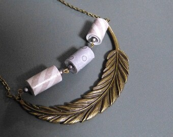 Large feather pendant & paper beads