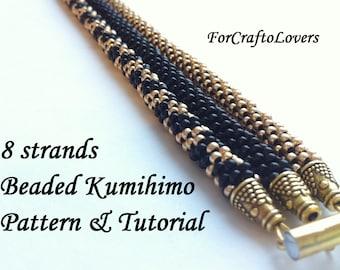 Beaded kumihimo pattern tutorial 8 strands black gold