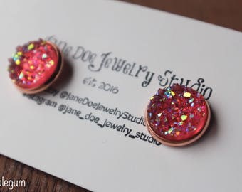 12mm Faux Druzy, Rose Gold Setting, pick your color!