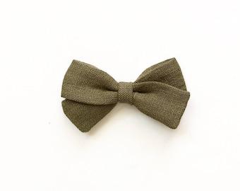 Fig Linen Bow - Classic Bow - Fall Hair Bows - Baby Headband - Bows For Girls - Toddler Headbands - Girl Headbands