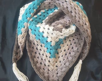 Crochet triangle scarf, ladies scarf, granny square, accessories, gift for her, blue and grey scarf, blue shawl, ladies shawl, crochet shawl