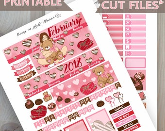 FEBRUARY Monthly Sticker Kit,Valentine's day Printable Monthly sticker kit, Love Happy Planner Printable Stickers,February planner stickers