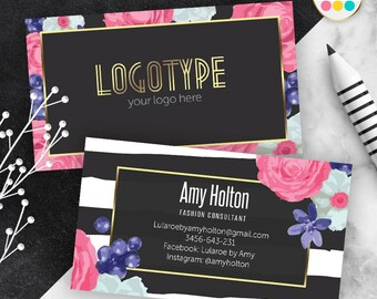 Black Lula Business Card, Free Customize, Zebra Collection, For Independent Consultant, Calling Card
