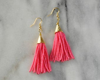 Beaded Tassel Earrings, Pink Beaded Tassel, Salmon Beaded Tassel, Tassel Earrings, Statement Earrings, Beaded Tassel, Beaded Earrings