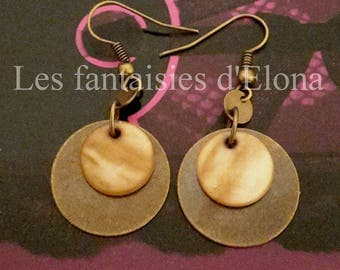 Earrings in bronze with sequins