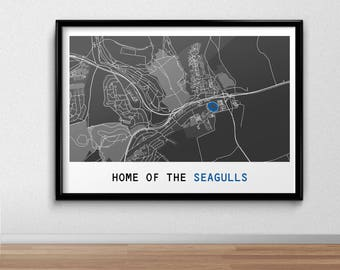 Brighton & Hove Albion Football Poster, Football Poster, Football Print, gift, Map Print,  Present