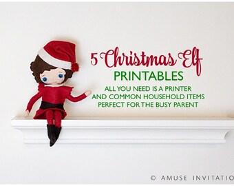 Elf Printable Bundle, Elf Printable Kit, Elf Bingo, Elf Replaces Portrait, Cookies Please? Elf Reindeer Disguise, Elf Sketches Santa