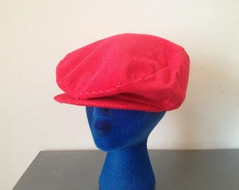 Vintage 80's Red Corduroy Newsboy Cabbie Dad Hat Fitted Ugly Golf Cap Size Large 7 3/4