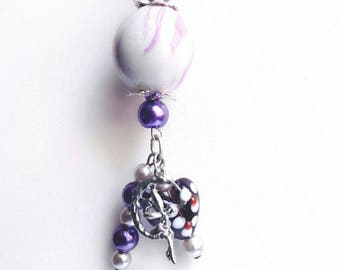 Pendant on purple and gray, handmade Pearl Necklace