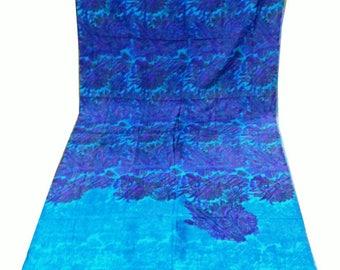 Vintage silk sari saree Indian floral fabric wrap w flowers LONG silk Indian dress craft w floral design vintage silk fabric supply