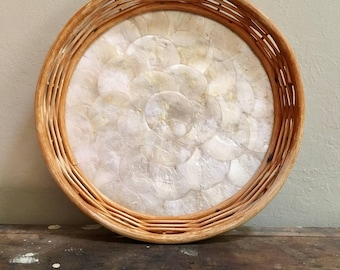Wicker Serving Tray with Oyster Shells
