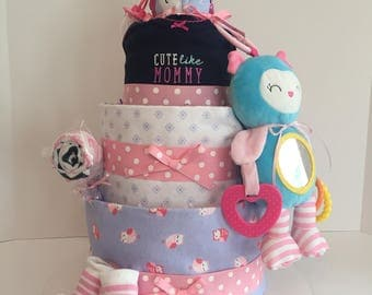 Owl Diaper Cake, Girls Diaper Cake, Baby Shower Gift, Baby Shower Centerpiece, Baby Girl Gift, Gender Reveal Gift, Welcome Home Baby Gift