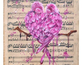 Valentines day gift, wedding gift, romantic gift, romantic valentine, sheet music art, sheet music painting, anniversary gift, love is love