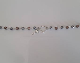 Silver heart and key bracelet Pearl shell